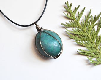 Round Chrysocolla Necklace, Large Chrysocolla Stone, Chrysocolla Necklace, Wire Wrapped Stone, Christmas Gift, Canadian Jewellery, Canada