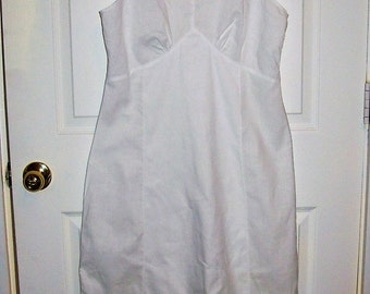 Vintage 1930s Ladies White Cotton Slip w/ Eyelet Lace Trim Medium Only 15 USD