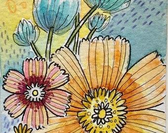 Bloom, Original Artwork, Floral Watercolour Aceo