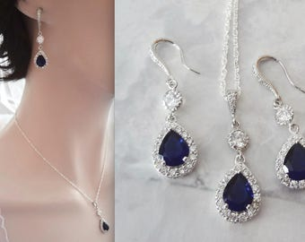 Blue Sapphire earrings and necklace set - Cubic Zirconia' s - Halo - Something Blue - Brides jewelry set - Elegant ~ Wedding Jewelry ~ TIA