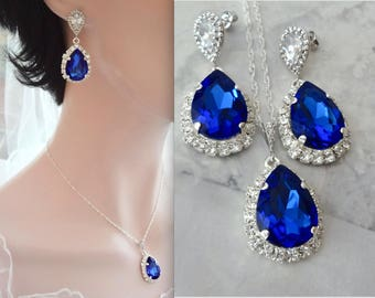 Sapphire crystal jewelry set,Swarovski Crystal jewelry set,Halo crystal jewelry,Brides jewelry set,Something blue,Wedding jewelry set,SOPHIA