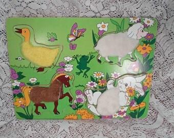 Vintage Childs Furry Animal Puzzle 4 Piece Set  Rabbit Sheep Horse Duck