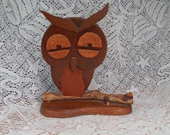 Vintage Handmade Wood Owl Sitting on Branch with Base So Cute