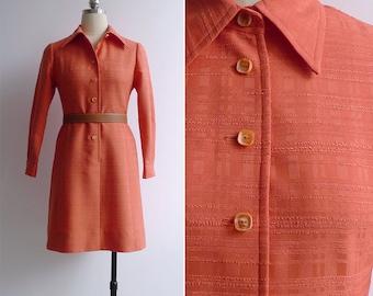 20% OFF (Code In Shop) - Vintage 70's Coral Orange Mod Princess Cut Coat Dress Dress XS or S