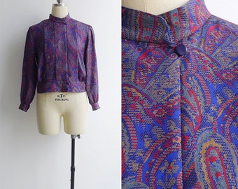Vintage 80's 'Modern Military' Paisley Print High Neck Blouse S or M