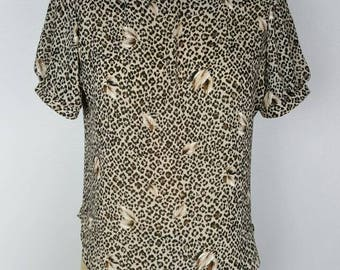 Sheer Leopard Print Top - M/L