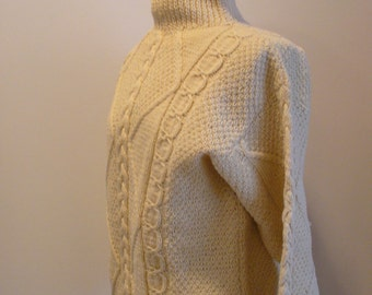 Vintage Cladyknit Donegal Hand Knit Cable Sweater
