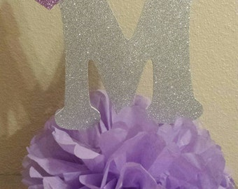 Purple Princess Silver or Gold Initial Table Centerpiece table decor You choose colors!