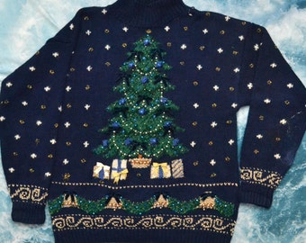 Vintage 1994 90s CHRISTMAS Tree Presents Snowflakes Beaded Sweater