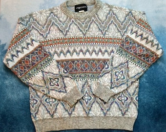 Vintage 80s Knitted Patterned Geometric Dad Sweater