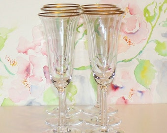 Gorgeous, Set of 6, Vintage, Lenox Hayworth, Fluted Champagne Glasses
