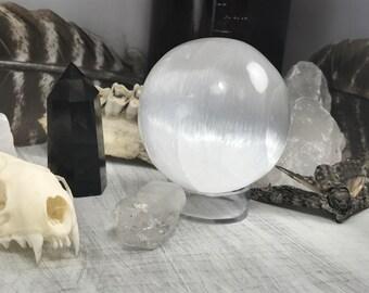 Large Selenite Sphere - 2 inches - crystal ball, sphere, stone sphere, altar decor, stone specimen, selenite specimen