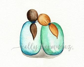 Sister Friend  Watercolor / Printable Art / Printable Watercolor / Instant Download