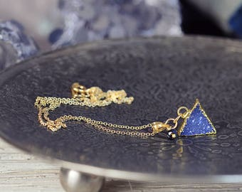 Blue Druzy Necklace - Modern Triangle Necklace - Druzy Pendant Necklace - Gold Layered Necklace with Blue Sapphire - Necklace For Her