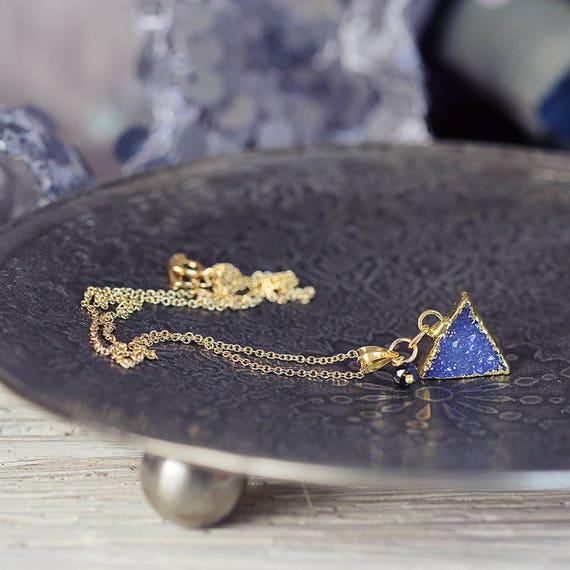 Blue Druzy Necklace - Modern Triangle Necklace