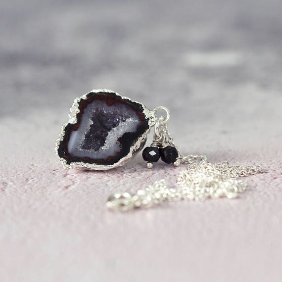 Black Geode Necklace - Gemstone & Diamond Necklace