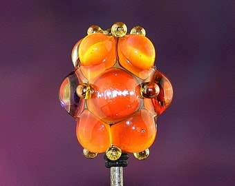 Cloudberry Handmade Lampworked Glass Bead OOAK Orange Amber Gold Blue Dotted Barrel Focal Lampwork