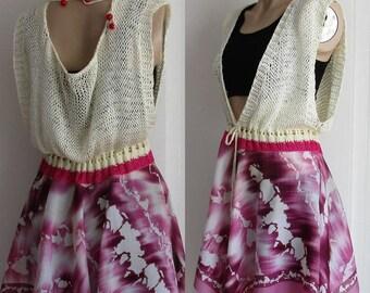 Purple Dress, Batic Dress, Backless Dress, Beach Open Back Dress, Of White beach cover up, Cute cover up Asymmetrical dress, Handknit dress.