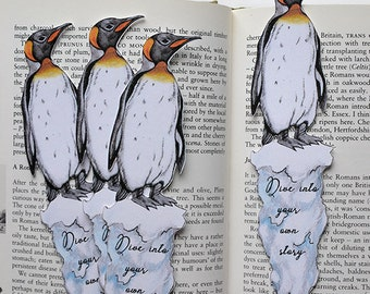 Penguin Bookmark - Die Cut Card - King Penguin - Beautiful and Handmade - Small Notelet