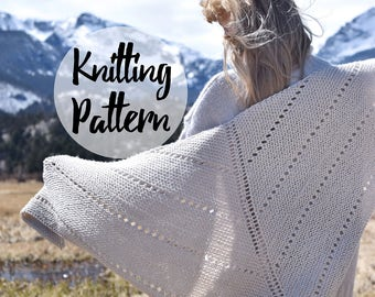 Knitting Pattern / Triangle Scarf Shawl, Open Wrap With Eyelet Details / Chunky Knit Winter Accessory / BIG COZY