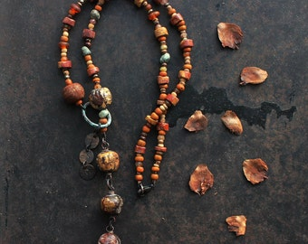 Good luck runic neklace, rustic y necklace, brown and amber necklace, amulet necklace, norse pagan necklace, symbol necklace