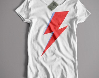 Inspired by David Bowie T Shirt - Aladdin Sane Flash Classic 70's Glam Rock T shirt