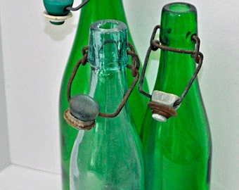 3 Antique & Vintage Ca 1930s Glass Wine BOTTLES, 2 Green and 1 Light Blue/ with Old Wire Bail Lids, Plain, All in Very Good Condition