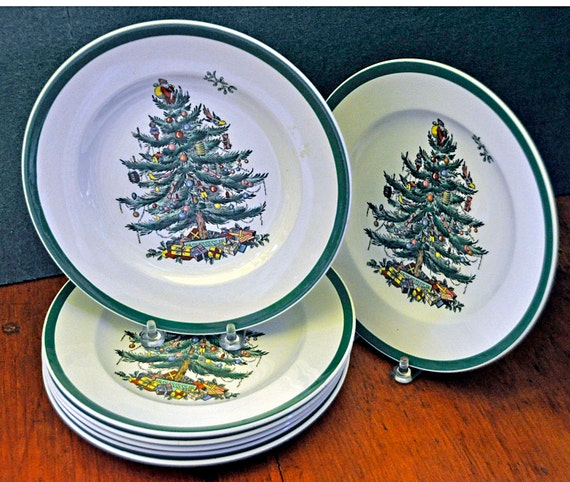 "Vintage Ca 1959 Seven (7) COPELAND SPODE CHRISTMAS Tree Salad Plates #S3324 Green Band 7 3/4"" Di 2 Blue Bck Mrk 5 Black Bck Mrk Exc Cond"