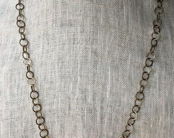 Antique brass necklace - adjustable length