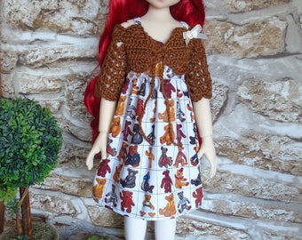 Teddy Bear dress, brown crochet shrug and hat outfit clothes for Kaye Wiggs Kaze Kidz Laryssa Abby MSD BJD dolls 1/4