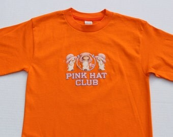 Vintage Kitsch Orange Tshirt -Ruth Morehead Bright Cotton T Shirt -Pink Hat Club- cute graphic - retro -novelty-small size - long top