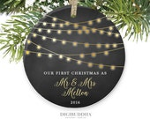 Our First Christmas as Mr & Mrs Ornament Our First Christmas Married Ornament Newlywed Christmas Ornament Wedding Ornament Chalkboard Lights