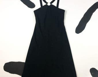 90s Black Strappy Midi Dress with Curved Barbell Piercing Detail / y2k / Cyber / Goth / Club Kid / Minimal / Punk / Cut Out / Silver /