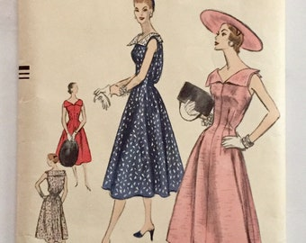 "Vintage 1955 Vogue Misses' Dress Pattern 8748 Size 16 (34"" Bust) UNUSED"