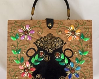 Vintage 1960s Enid Collins Pot O' Gold Beaded Wood Purse