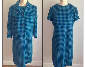 Vintage 1960s Misses' Robert Leonard Dress and Jacket Set Blue Green Wool Houndstooth Check