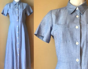 Vintage Blue Oxford Cotton Button Down Clues Full Skirt Shirt Dress