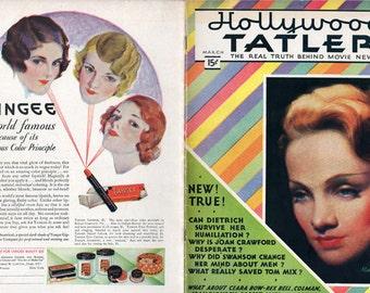 Hollywood Tatler.March 1932 Vol. 1 No. 1.Marlene Dietrich Cover. RARE.Greta Garbo,Clara Bow,Tom Mix,Joan Crawford,Gloria Swanson,Gary Cooper