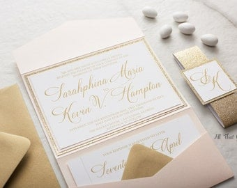 Blush Wedding Invitations suite, Glitter Wedding Invitations, Champagne Wedding Invitations, Custom Wedding Invitations, Sarahphina
