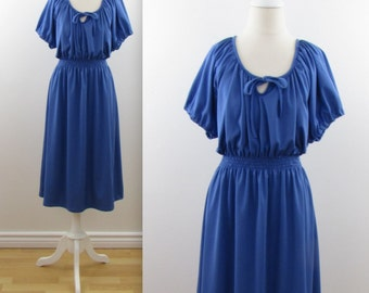 Lapis Blouson Dress - Vintage 1970s Blue A Line Midi Dress in Medium Large