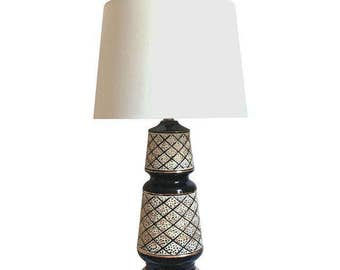 Mid Century Modern Lamp, Black and Gold