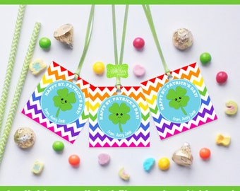 St. Patrick's Day Favor Tags - Four Leaf Clover Favor Tag - Kawaii St. Patrick's Gift Tags - Digital and Printed Available