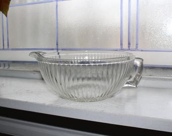 Vintage Batter Bowl Clear Ribbed Glass