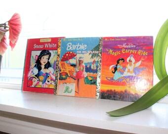 3 Little Golden Books Aladdin Barbie Snow White