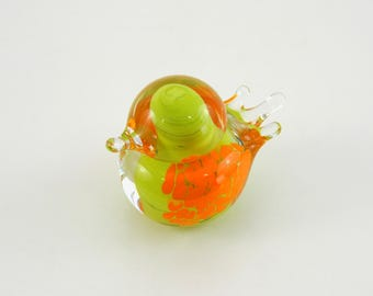 Art Glass Bird in Lime Green
