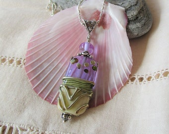 Gorgeous Artisan Lamp Work Necklace, Lavender Glass with Intricate Detail on Diamond Cut Sterling Chain, Unique Pendant, Gift