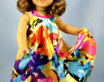 "Doll Clothes 18 Inch - Fits American Girl Dolls - Desert Sunrise Maxi Dress - Doll Clothing - 18"" Doll Clothes - Pink Yellow Purple"