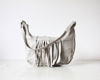 Vintage taupe fringe Leather Handbag