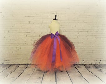 Tutu for Girls, floor length tulle skirt, Halloween tutu, witch costume, purple plum orange tutu, sewn tutu costume