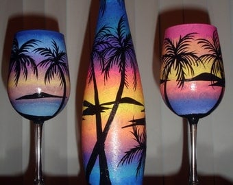Tropical carafe with 2 wine glasses
